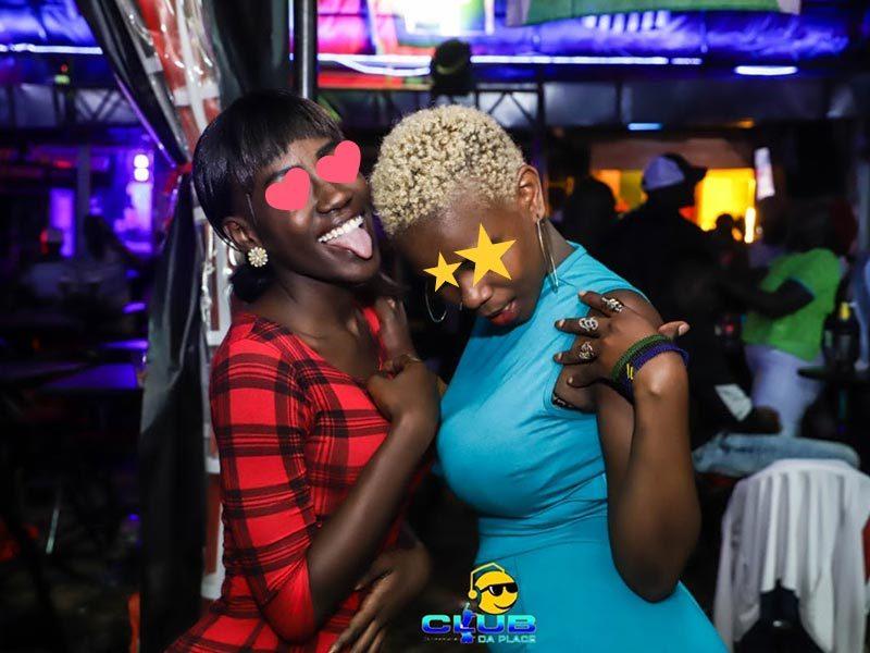 Two girls in Kisumu dancing in Club Da Place