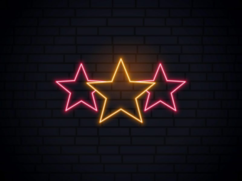 Neon lights on three stars